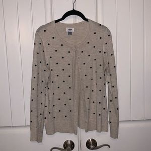 NWOT cream & black polka dot cardigan